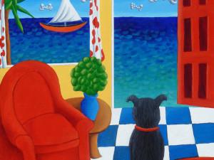 Dog Window to Sea