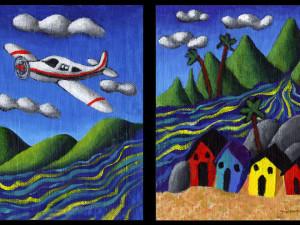 Plane Above Village, Plane by River Village - Duo